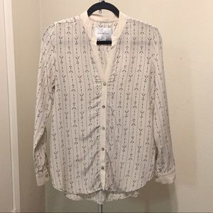 Ivory arrow print silk blouse